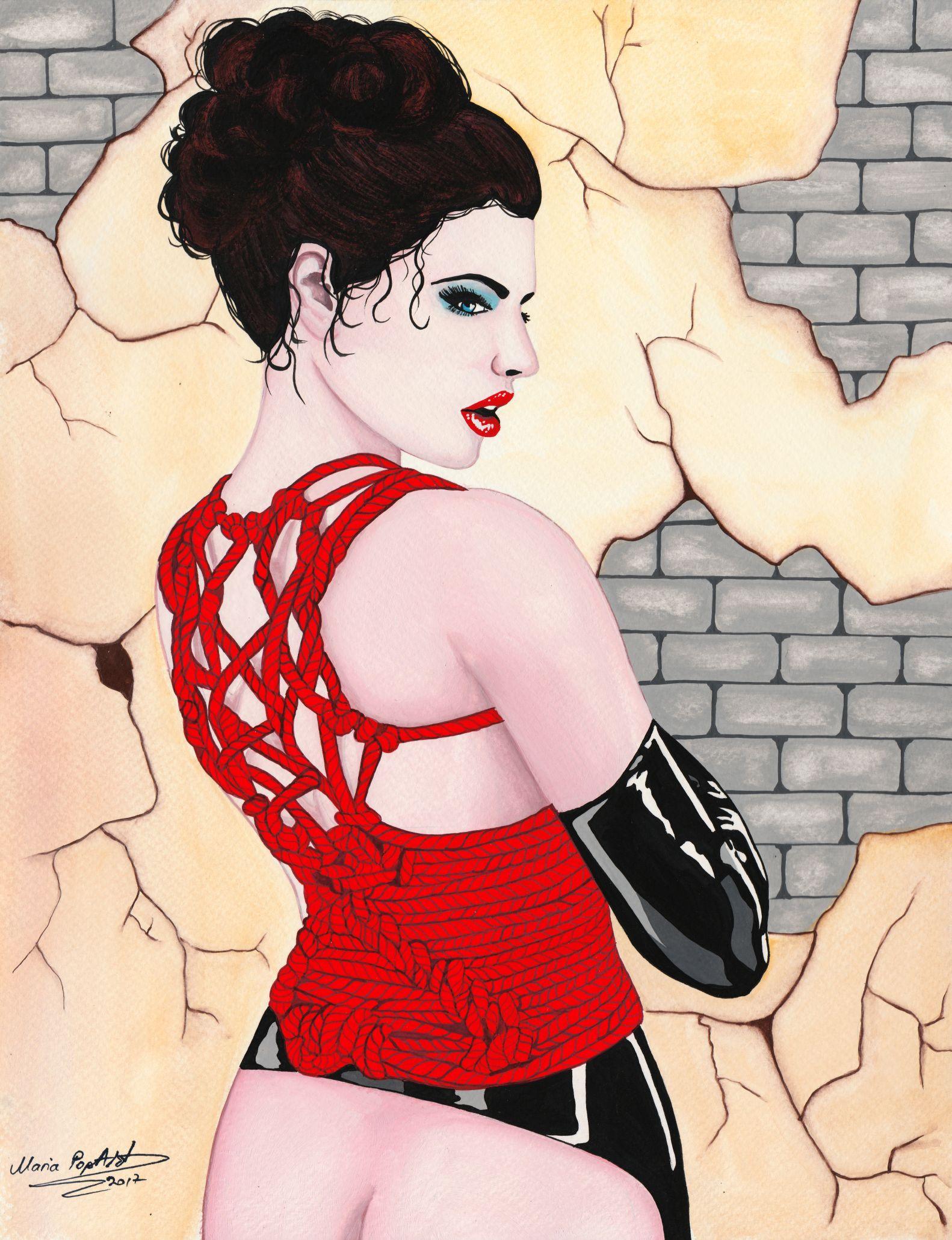 code-0039-rope-corset-27-x-35-cm-watercolor-by-maria-marcu