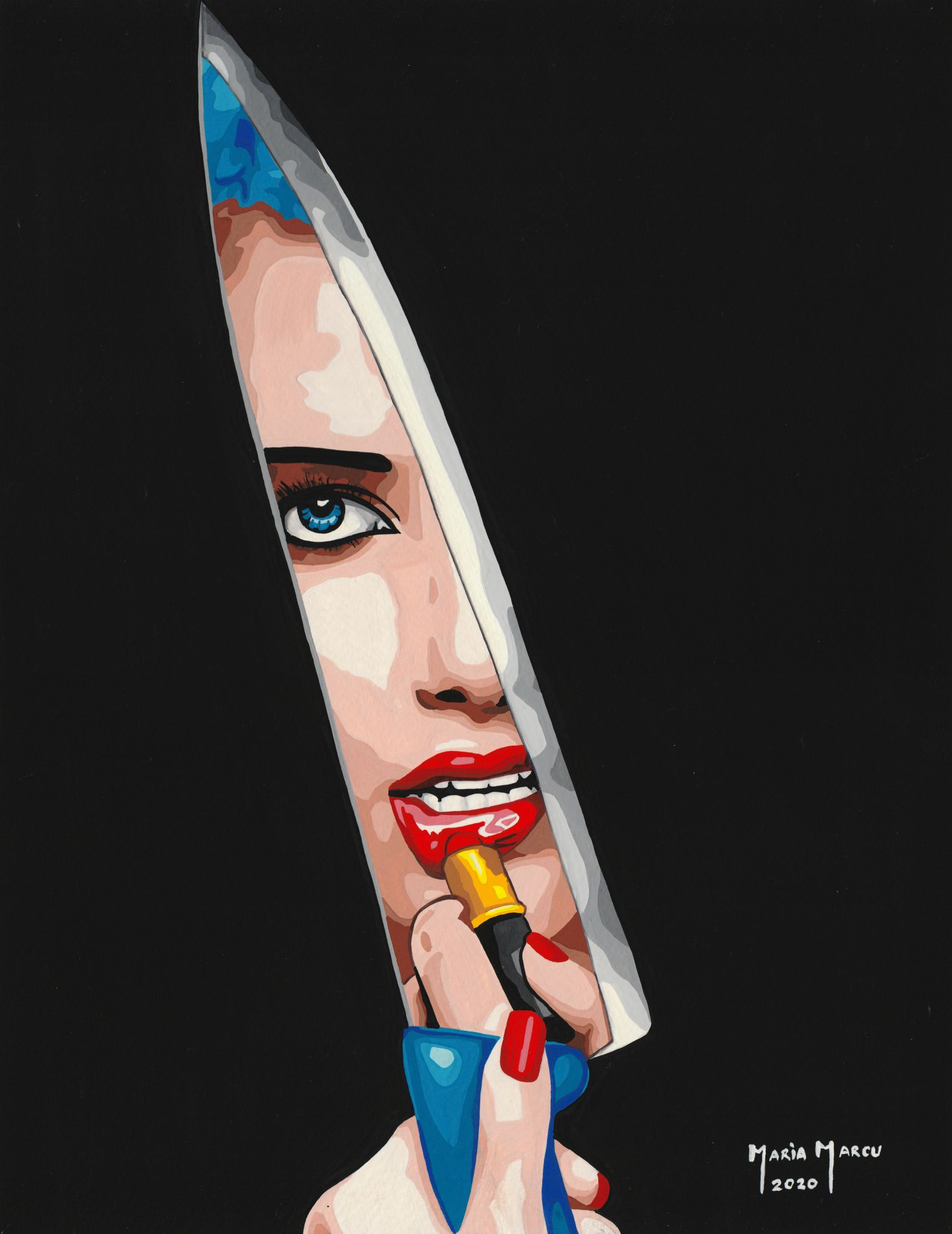 code-0057-beauty-blade-tempera-by-maria-marcu-popart-27-x-35-cm