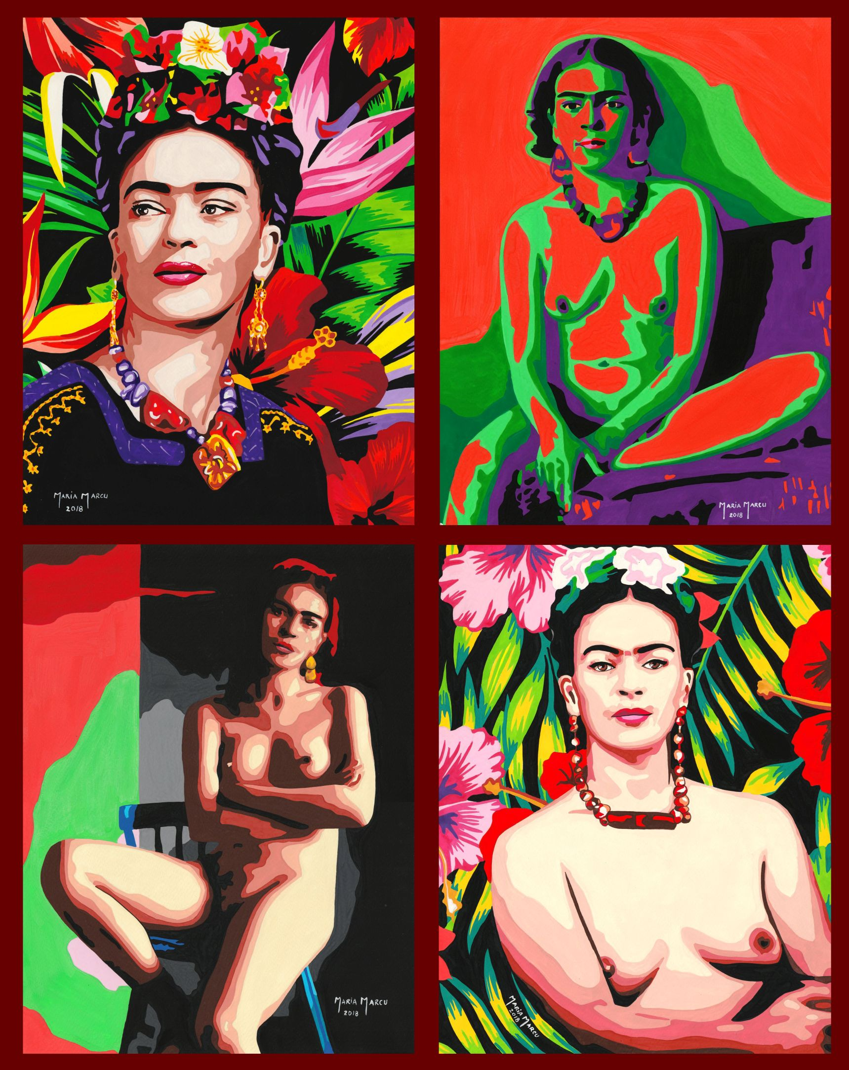 code-0085-tribute-to-frida-kahlo-set-of-4-watercolors-by-maria-marcu